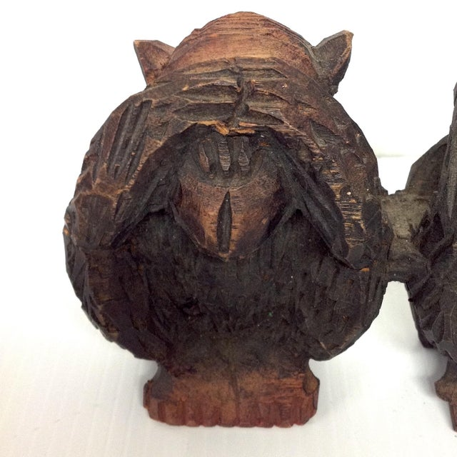 Boho Chic Vintage Hand Carved Wise Monkeys Sculpture - S/4 For Sale - Image 3 of 8