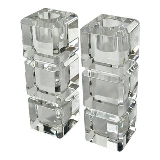 Mid-Century Stacked Lucite Clear Acrylic Candle Holders - a Pair For Sale