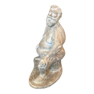 "1990s ""Max"" Figurative Nude Man Sitting Clay Sculpture For Sale"