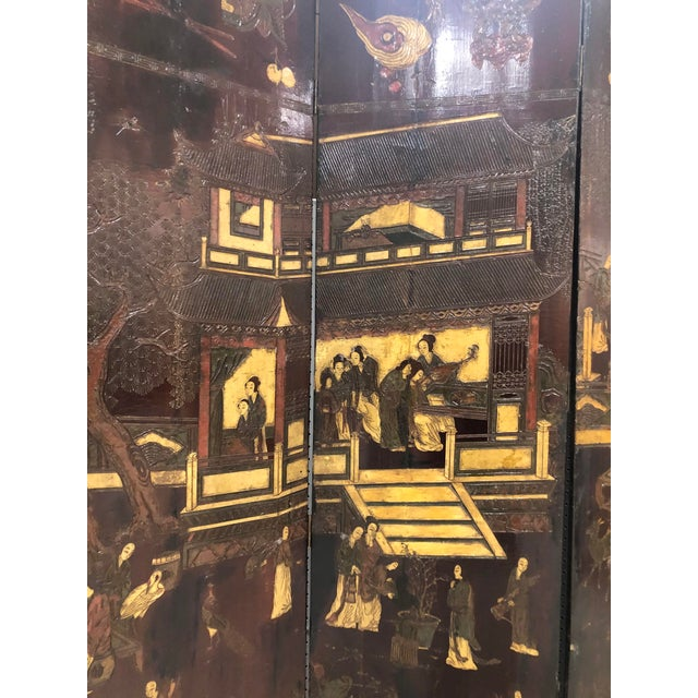 Early 19th Century Early 19th Century Chinese Black Wooden Screen/Room Divider For Sale - Image 5 of 7