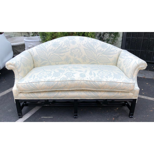 Antique Chinese Chippendale Camelback Sofa Settee W Black Lacquer & Down Cushion For Sale - Image 4 of 7