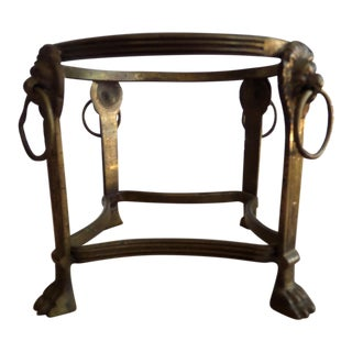 Solid Brass Circular Display Stand With Lion's Heads With Ring in Nose & Lion's Feet