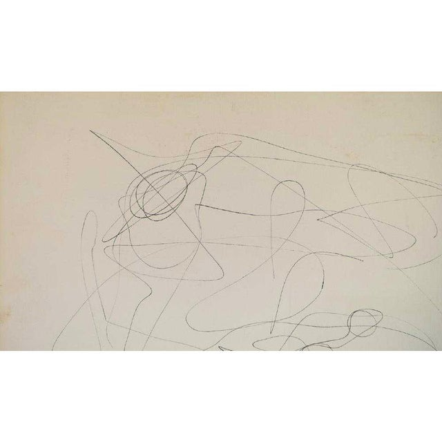 Mid-Century Modern Vintage Abstract Line Drawing on Paper For Sale - Image 4 of 6