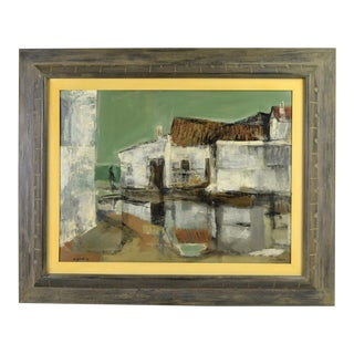"""1957 Edward Van Zandt """"Summerstorm, Carihuela"""" Abstracted Oil Painting As-Is For Sale"""