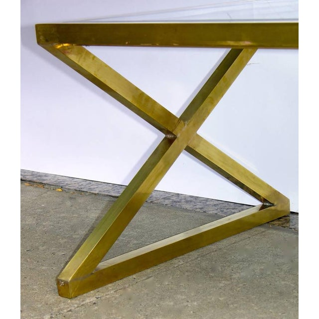 Black Italian Modern X-Frame Handcrafted Bronze and Black Low Coffee Tables - a Pair For Sale - Image 8 of 11