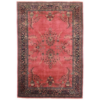 Antique Hand Knotted Wool Turkish Sparta Rug - 6′ × 8′10″ For Sale