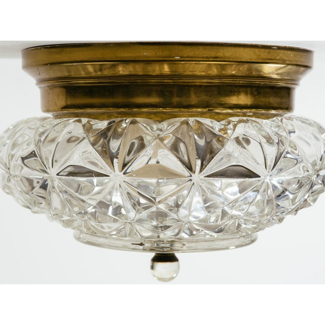 German Glass and Brass Flush Mount Chandeliers - a Pair For Sale In New York - Image 6 of 9