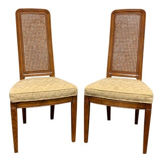 Henredon Artefacts Campaign Style Dining Side Chairs - Pair 2 For Sale