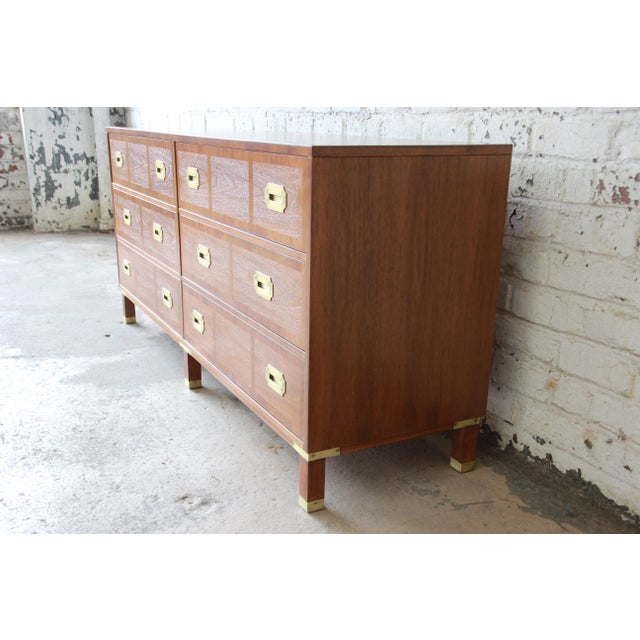 Baker Furniture Milling Road Campaign Style Long Dresser or Credenza For Sale In South Bend - Image 6 of 13