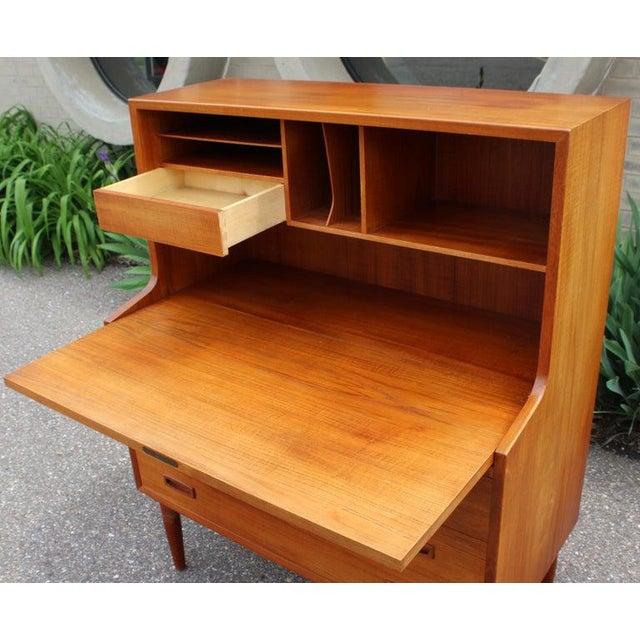 Mid-Century Modern Mid-Century Modern Danish Teak Drop Down Desk Secretary Dresser Peter Hvidt 1960 For Sale - Image 3 of 7