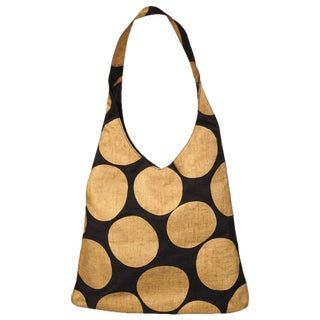 Paloma Picasso Graphic Black Shoulder Bag With Giant Gold Dots For Sale