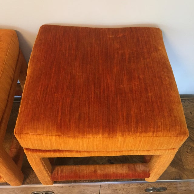 Glass 1970s Orange Velvet Console Table With Parsons Style Ottomans, Set of 3 For Sale - Image 7 of 12