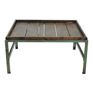 Rustic Industrial Iron and Wood Top Coffee Table For Sale