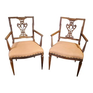 18th Century Louis XVI French Provincial Walnut Upholstered Armchairs - a Pair For Sale