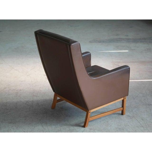 Animal Skin Midcentury Kai Lyngfeldt Larsen Style High Back Lounge Chair in Brown Leather For Sale - Image 7 of 9