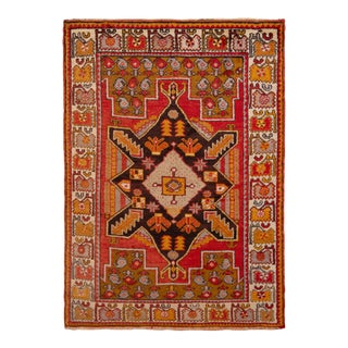 Hand-Knotted Antique Kirsehir Rug in Red Gold Medallion Tribal Pattern For Sale