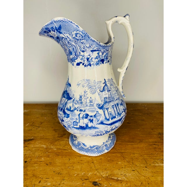 19th Century English Blue and White Staffordshire Pitcher For Sale - Image 4 of 9