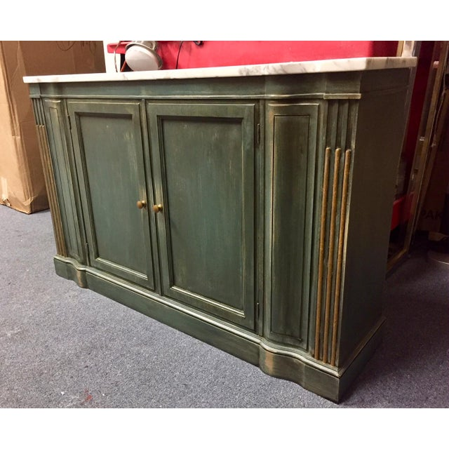 Shabby Chic 1950s Shabby Chic Marble Top Green Console Table For Sale - Image 3 of 11