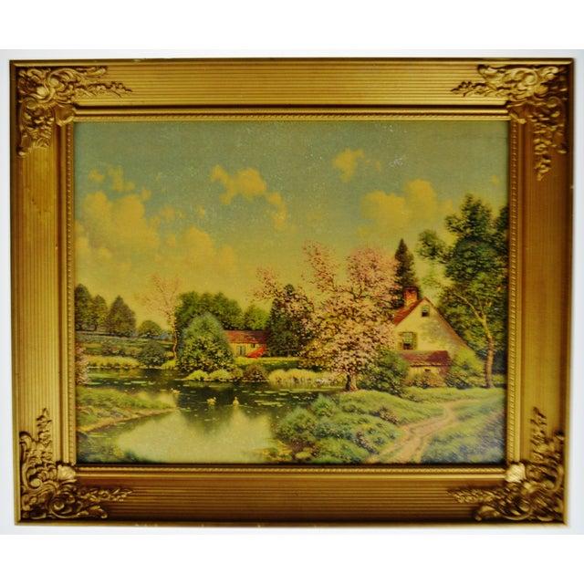 Vintage Gilt Framed Landscape Print on Textured Board For Sale - Image 9 of 13