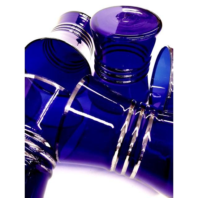 Cobalt Blue Shot/Juice Glasses W Silver Trim - S/6 - Image 3 of 9