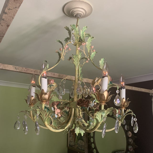 Green Iron Floral Chandelier For Sale - Image 13 of 13