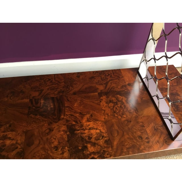 Metal Modern Art Deco Style Universal Co. Burl Wood and Nickel Console Table For Sale - Image 7 of 8