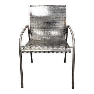 Knoll Style Mid-Century Modern Stainless Steel Armchair For Sale