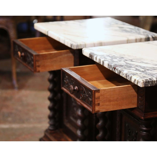 Wood Pair of 19th Century French Carved Oak Nightstands With Marble Top For Sale - Image 7 of 13
