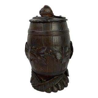 Black Forest Carved Faux Bois Barrel For Sale
