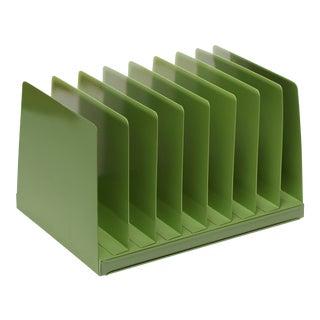 Mid Century Desktop File Holder/ Magazine Rack, Refinished in Sage Green For Sale