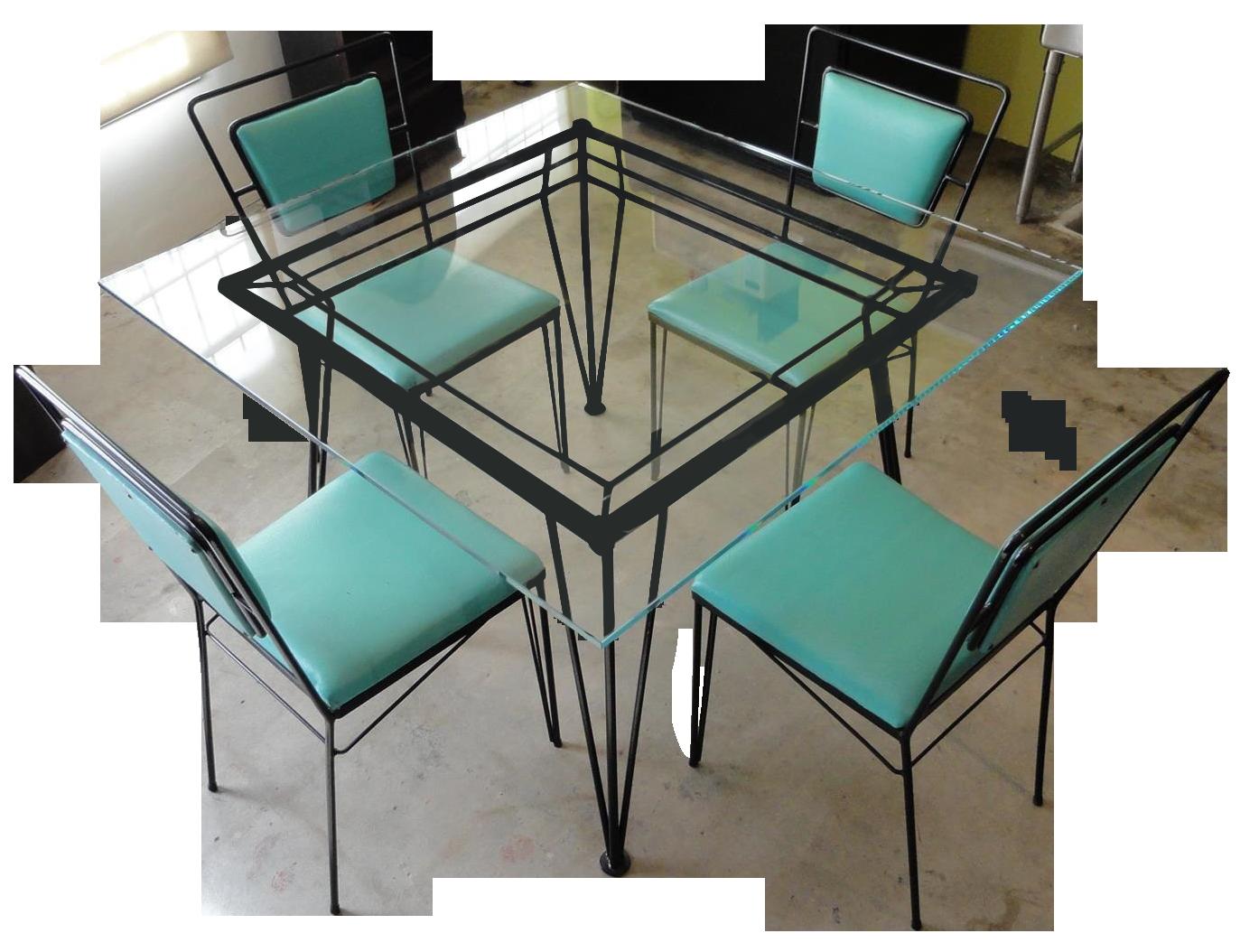 Lovely Atomic Age Mid Century Iron Dining Set   Image 1 Of 11