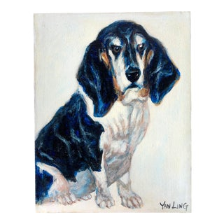20th Century Portrait Painting of Bassett Hound Dog by Yan Ling For Sale