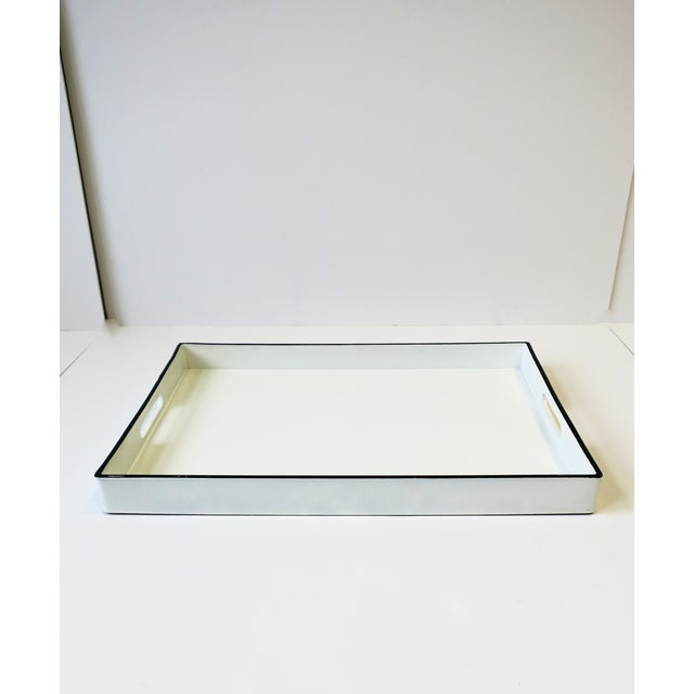 White and Black Lacquer Serving Tray For Sale - Image 4 of 13