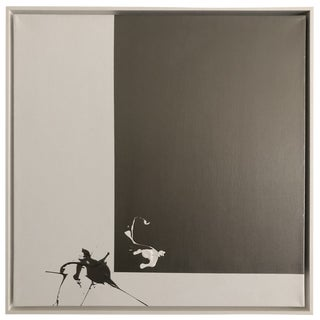 "Axel Abbott Original Acrylic Painting ""Stainless Steel Contrast Splatter"" For Sale"