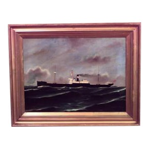 American (20th Cent) gilt framed oil seascape painting of black steam freighter For Sale