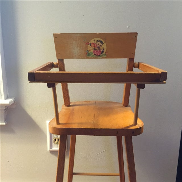 Children's Wood Doll High Chair with Cat Motif For Sale - Image 3 of 11