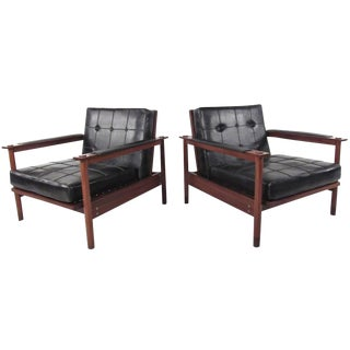Pair of Unique Vintage Modern Lounge Chairs For Sale