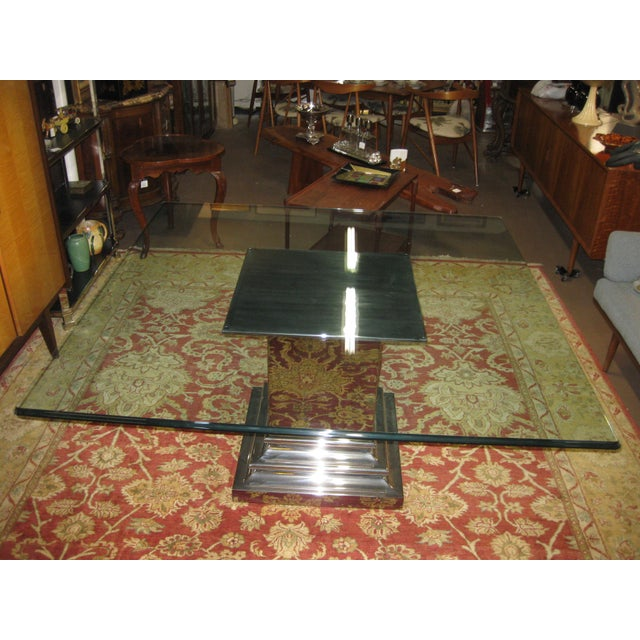 Art Deco Brueton Stainless Steel Column Dining Table For Sale - Image 3 of 5