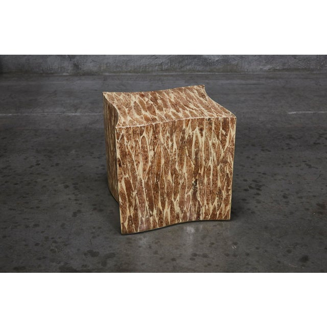 """1990s Contemporary Freeform """"Wave"""" Side Table With Natural Fiber Inlay For Sale - Image 11 of 11"""
