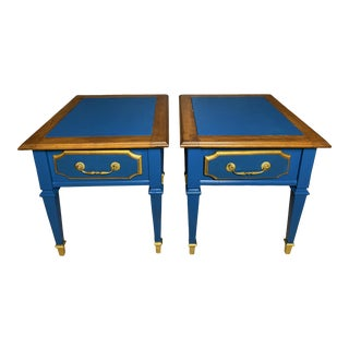 Mid-Century Modern Walnut Blue Vintage Nightstands Set of Two For Sale