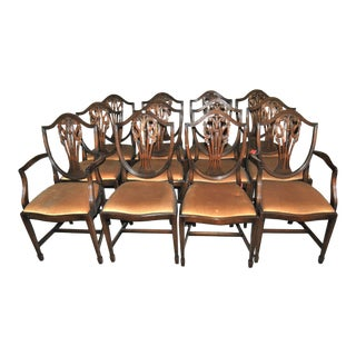 20th Century English Mahogany Hepplewhite Style Chairs - Set of 12 For Sale