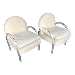 1970s Vintage Pace Collection Lucite Arm Chairs- A Pair For Sale
