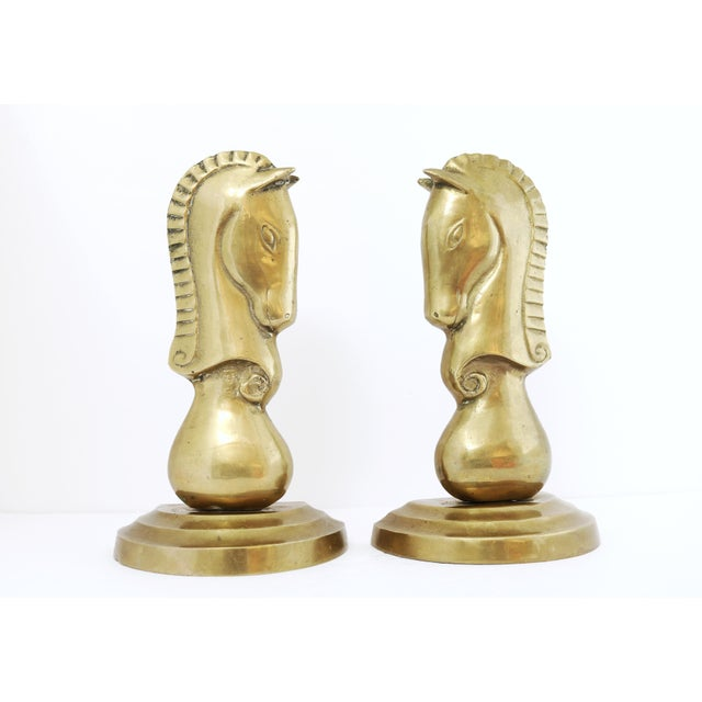 Brass Brass Knight Horse Head Bookends - a Pair For Sale - Image 8 of 8
