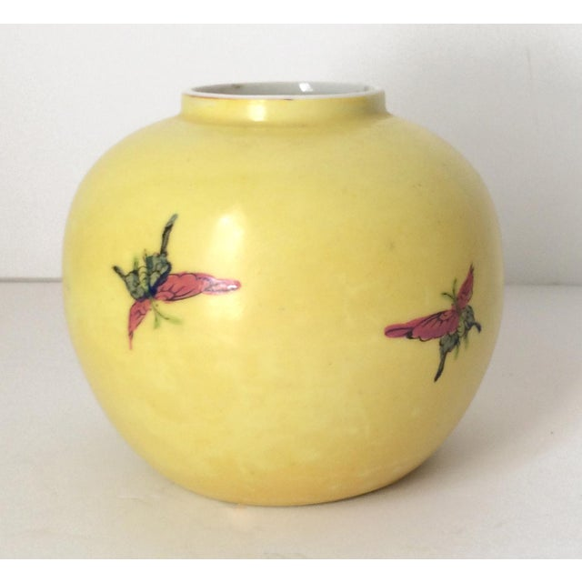 Ceramic Japanese Porcelain Ware Yellow With Pink Flowering Branch and Bird Vase For Sale - Image 7 of 12