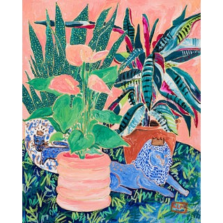 """""""Welcome to the Jungle of House Plants"""" Blush Still Life Painting For Sale"""