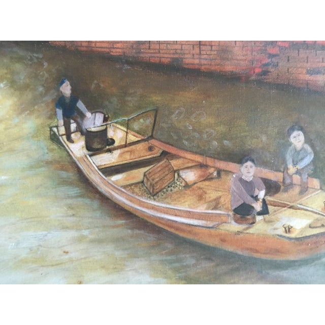 Asian Boat on a Bejing Canal Oil Painting by Joseph Feldmen For Sale - Image 3 of 3