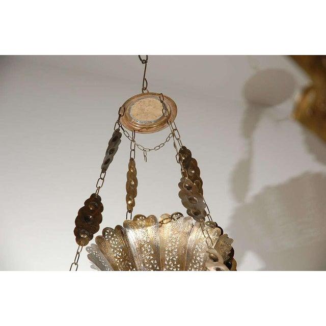Metal Vintage Moroccan Moorish Brass Chandelier, Alberto Pinto Style For Sale - Image 7 of 10