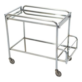 Jacques Adnet Art Deco Mirrored Bar Cart Trolley 1930s For Sale