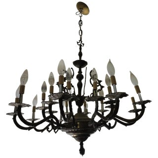 Antique Decorative Ten-Arm Brass Chandelier For Sale