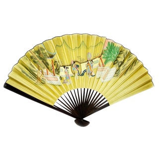 Vintage Chinoiserie Mid Century Hand Painted Folding Wall Fan For Sale
